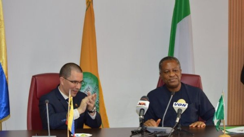 Venezuela's Foreign Minister Jorge Arreaza in a meeting with Nigeria's Foreign Minister Geoffrey Onyeama in Abuya, Nigeria